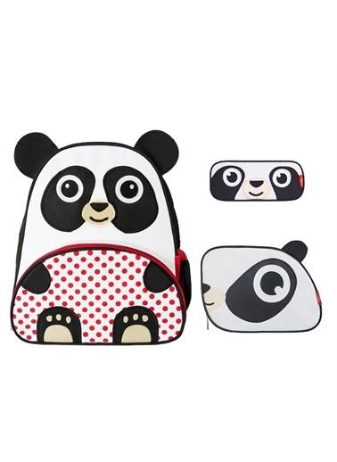 Zoozy Panda Çanta Seti (Sırt Çanta-Beslenme Çantası-Kalemlik) Renkli